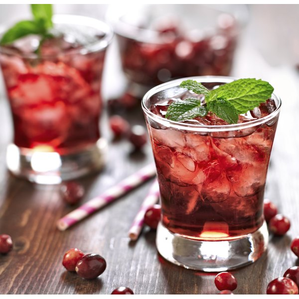 Garnish cranberry cocktails with a sprig of fresh mint to create an eye-pleasing cocktail contrast.