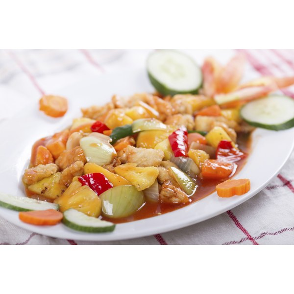 Sweet and sour chicken with vegetables and suace.