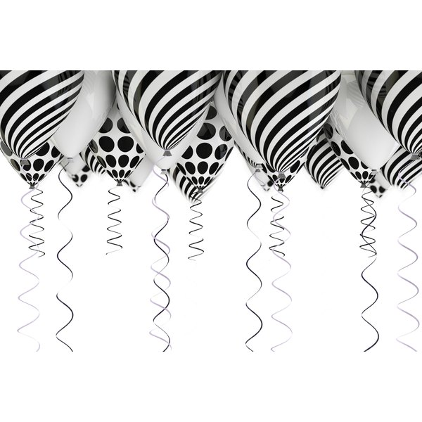 Use helium balloons for a festive touch at your black-and-white party.