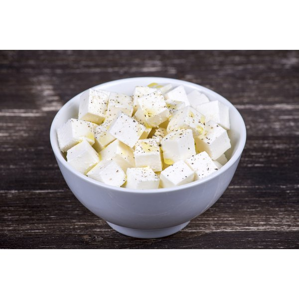 Bowl of feta cheese with herbs