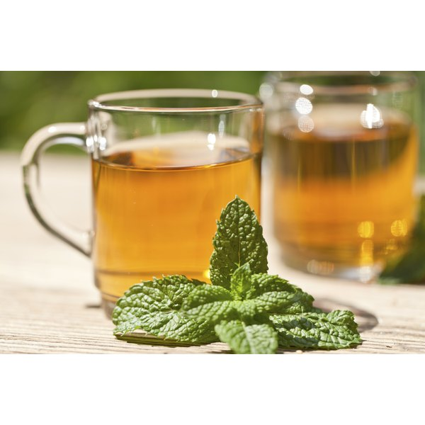 Herbal tea with mint leaves