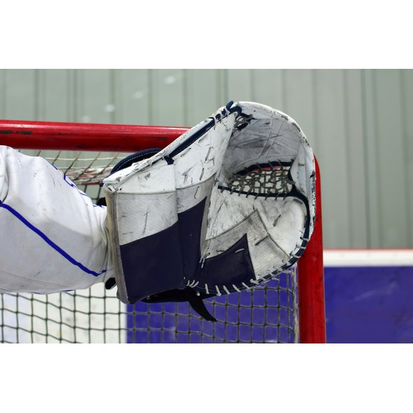 A goalies hockey glove.