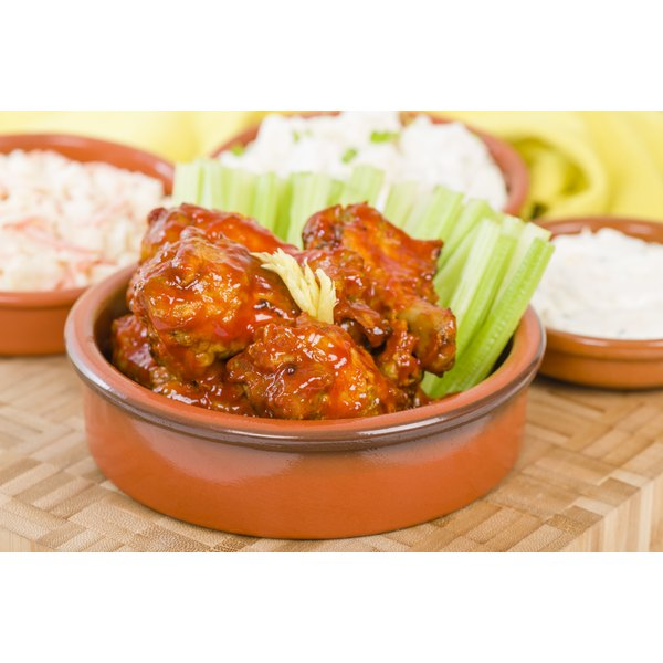 Chicken wings are often paired with ranch or blue cheese dressing.