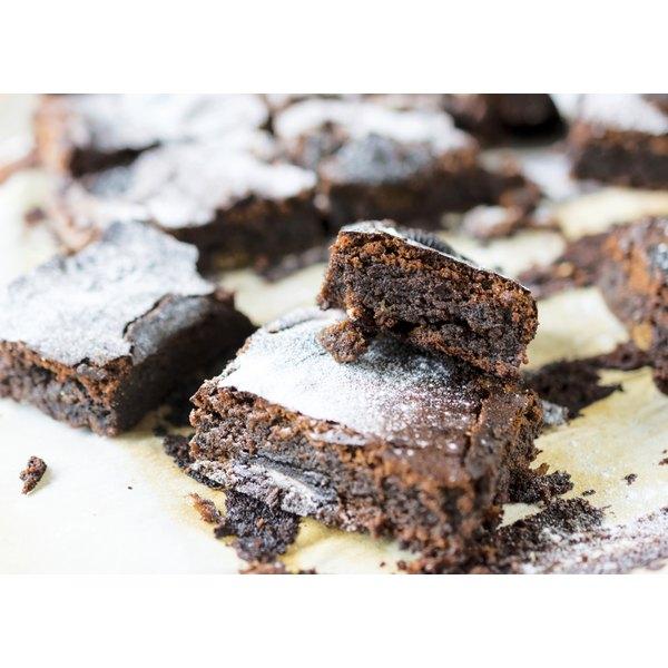 Close-up of freshly baked brownies.