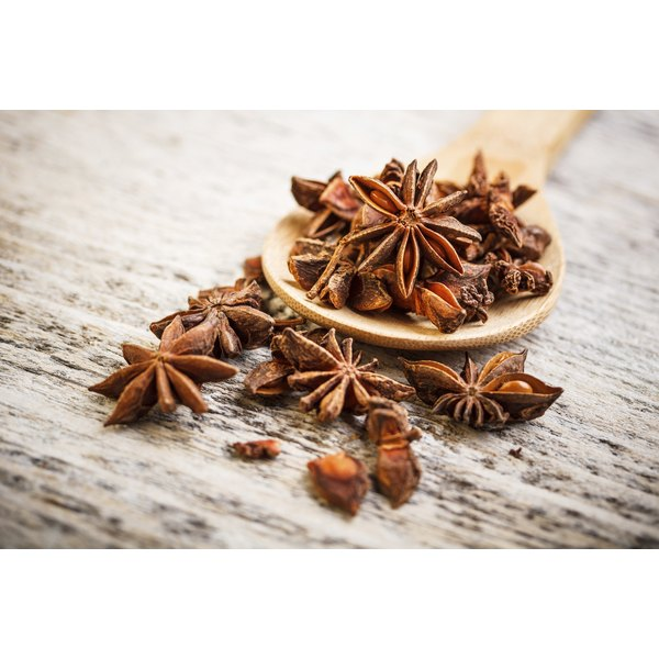 Star anise in a wooden spoon