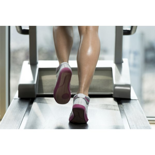 Woman jogging on a treadmill