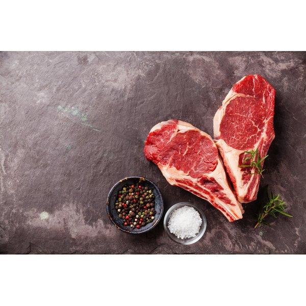 Two bone in ribeye steaks.