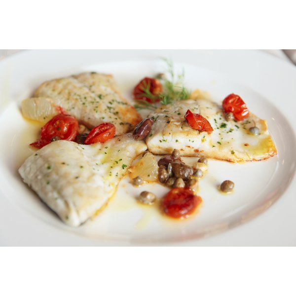 Poached white fish.