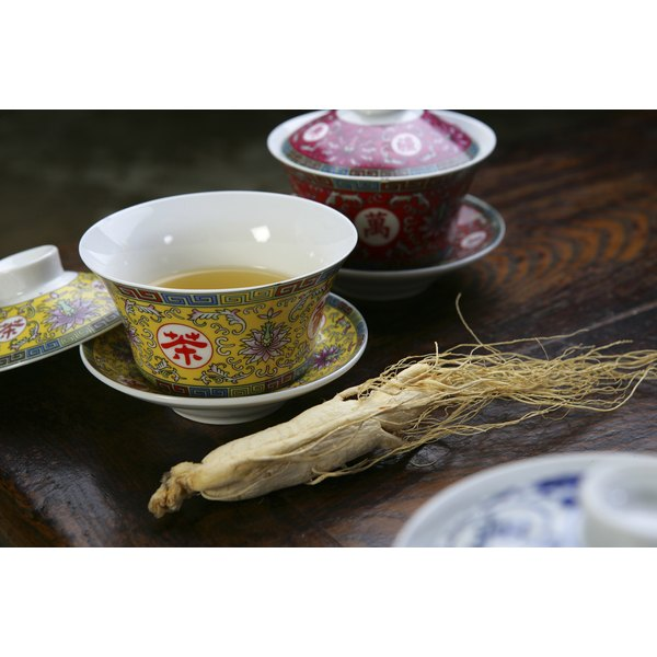 Chinese gaiwans with ginseng tea.