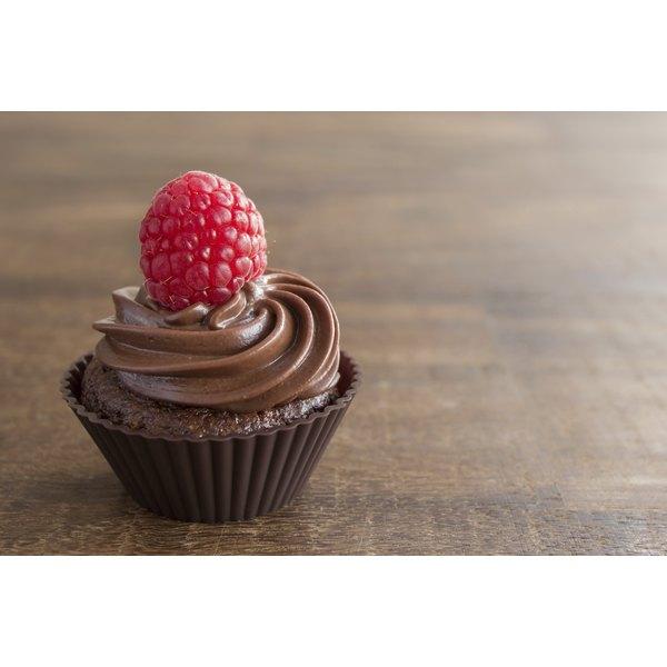 A tasty looking chocolate cupcake.