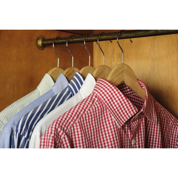 Dress shirts in closet.