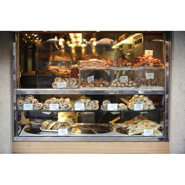Italian shop window with calzone, stromboli, sandwiches and desserts
