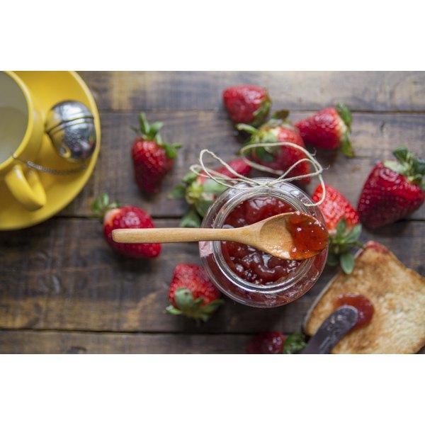 A homemade glass of jam.