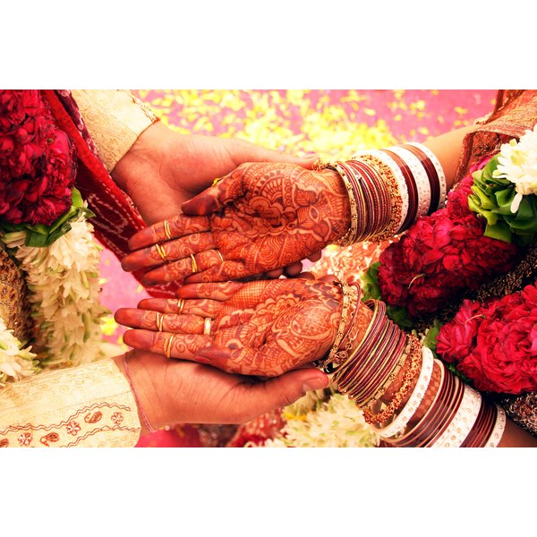 One of the customs of the mehendi ceremony is to hide the husband's name in the mehendi design on the bride.