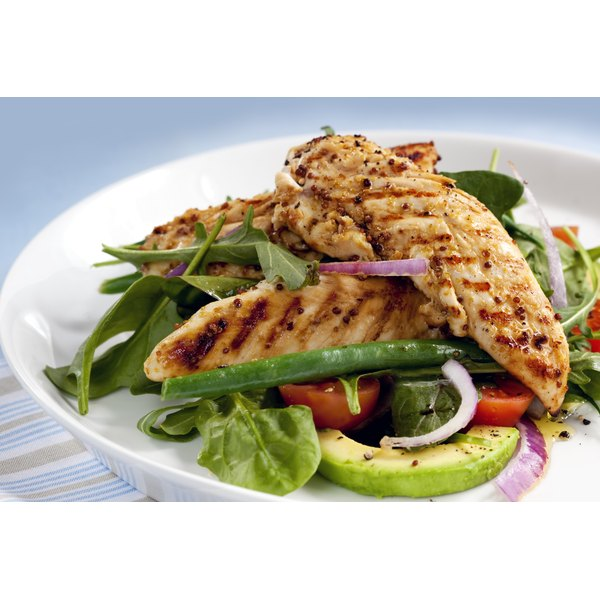 Healthy meal of protein and vegetables.