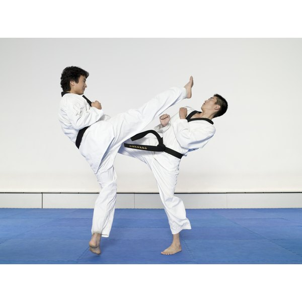 Two men engaging in the martial arts.