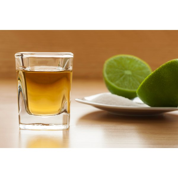 A tequila shot with lime and salt.