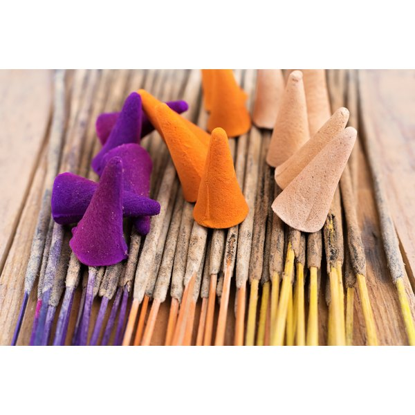 Colorful patchouli incense cones and sticks.