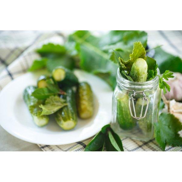 Freshly baked pickles in a jar.