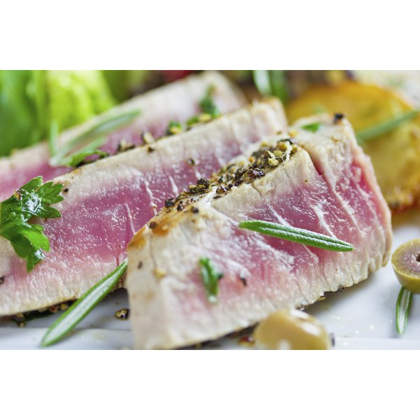 A seared tuna steak.