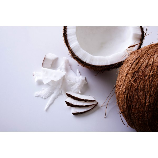 Close-up of a halved coconut.