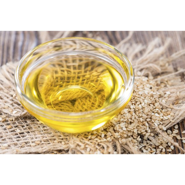 A small dish of sesame seed oil.