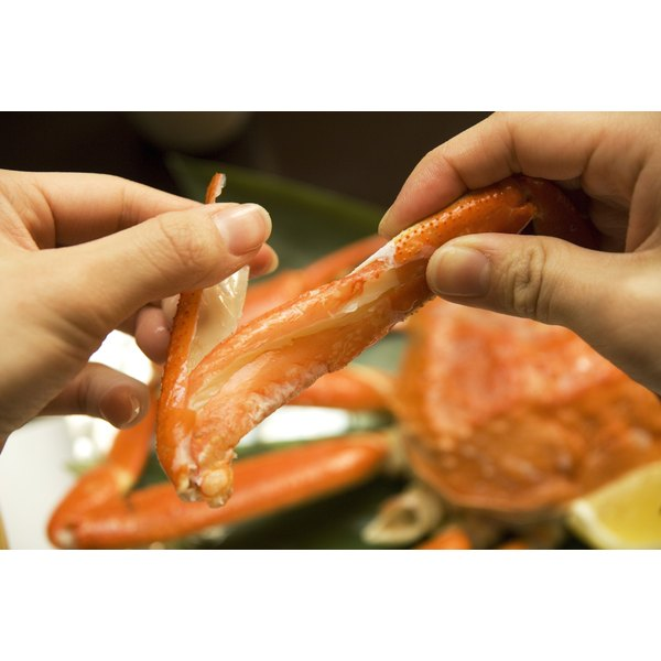 Breaking open a crab claw.