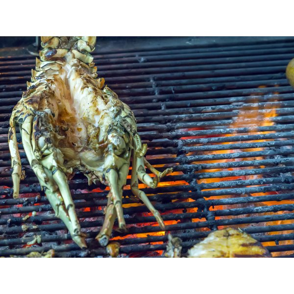 A whole lobster on the grill.