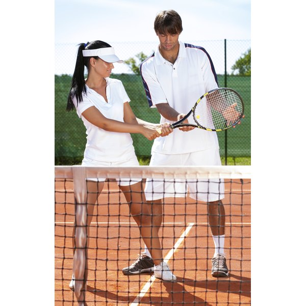 Beginners need to be shown how to hold the racket.