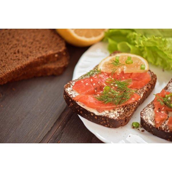 Lox on sliced bread.