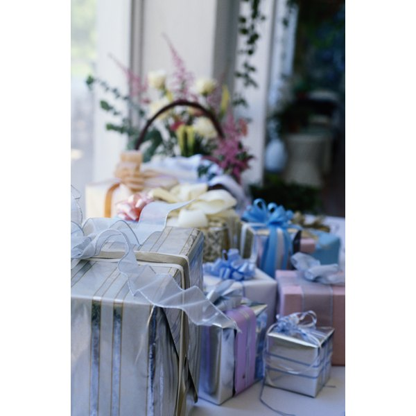 Some wedding receptions feature gift tables.