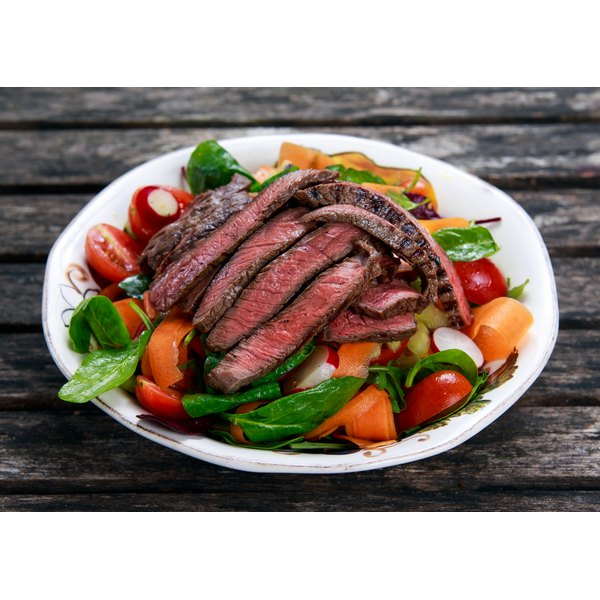 Fill up on steak and veggies for a very low-carb meal.