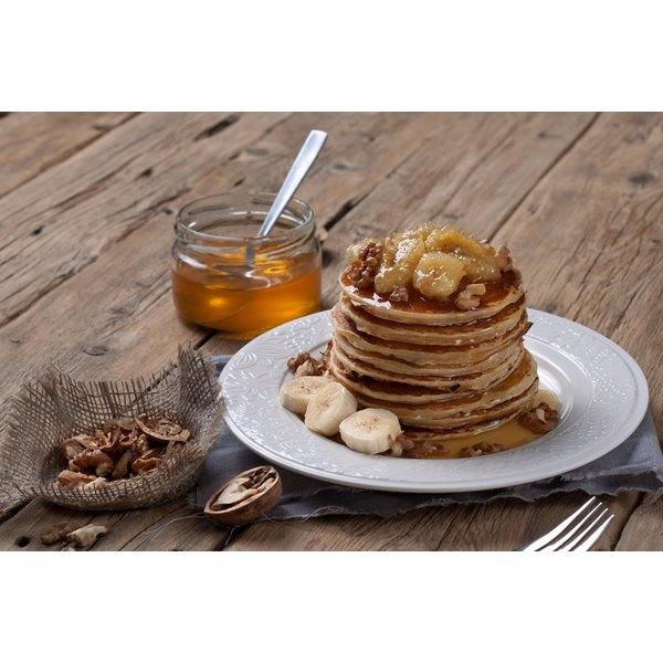 Low-sodium pancakes and fresh fruit fit into your low-sodium diet.