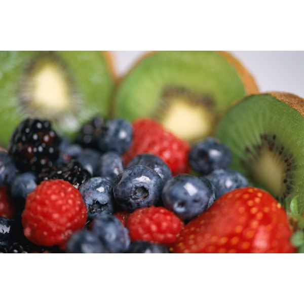 Blueberries, raspberries, blackberries and kiwi