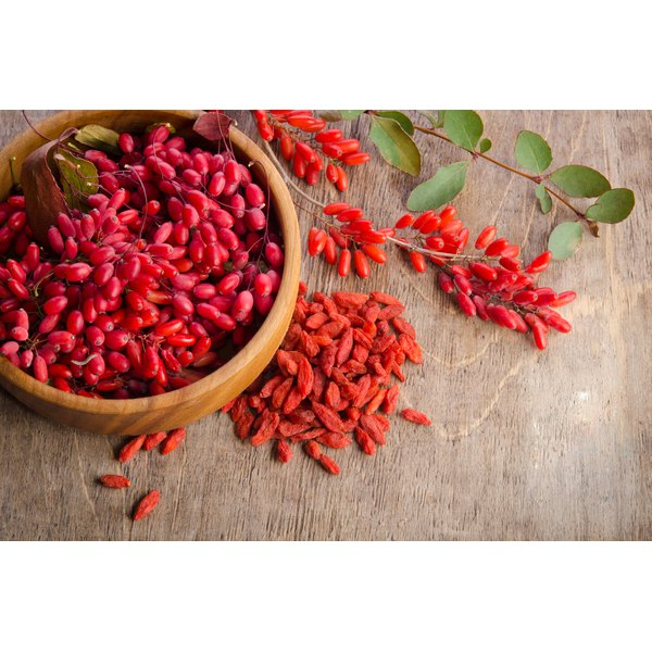 Goji berries and dried gohi berries.