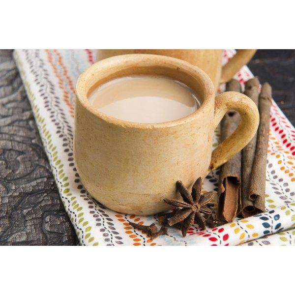 A glass of chai tea.