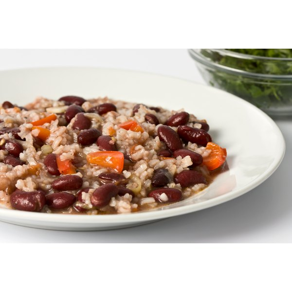 Black beans with rice is a nutritious combination.