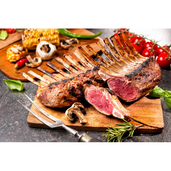 A grilled rack of lamb.