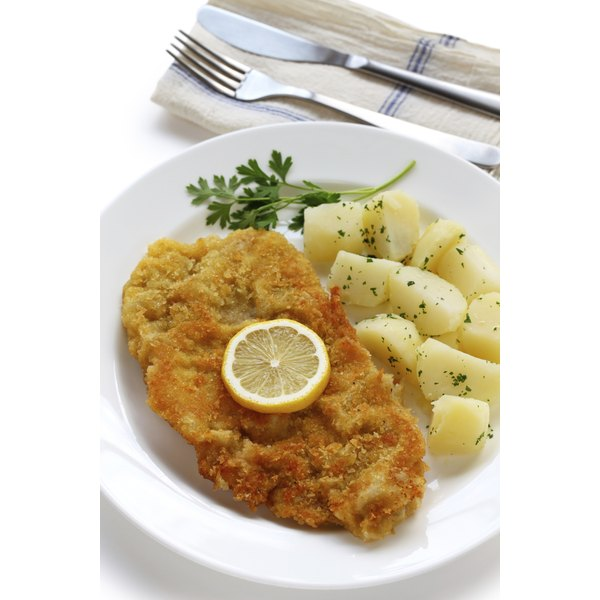 Fried veal cutlets should be crunchy and golden on the outside, with moist, tender meat on the inside.