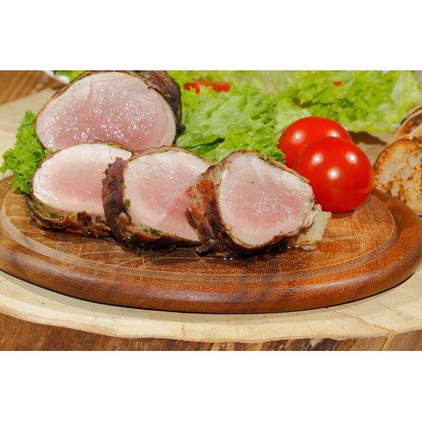 A sliced pork tenderloin.