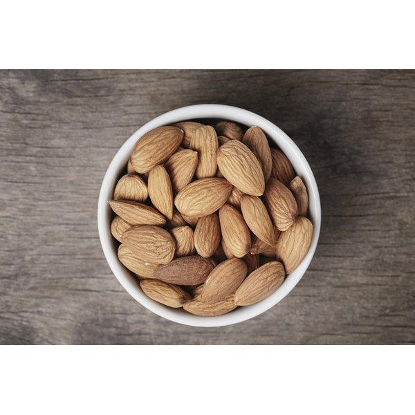 A small bowl of almonds.