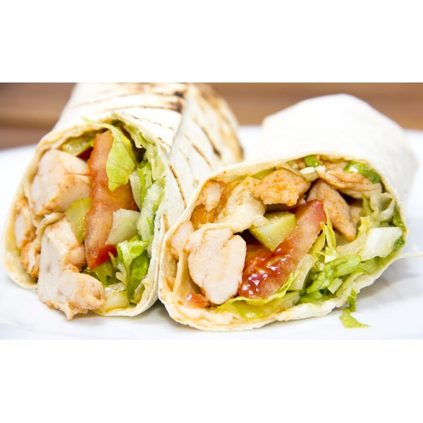 A healthy chicken breast wrap.