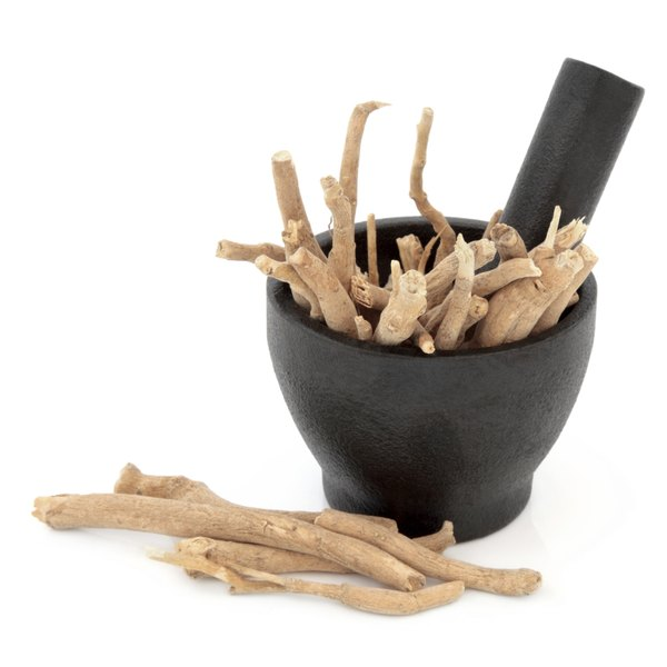 Ginseng in a mortar and pestle.