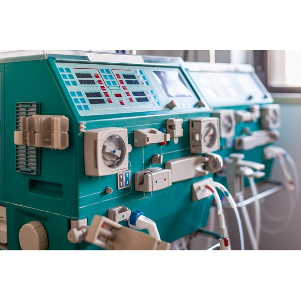 A close-up of a dialysis machine.