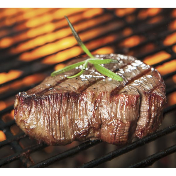 Filet mignon steaks are cut from a whole beef tenderloin.