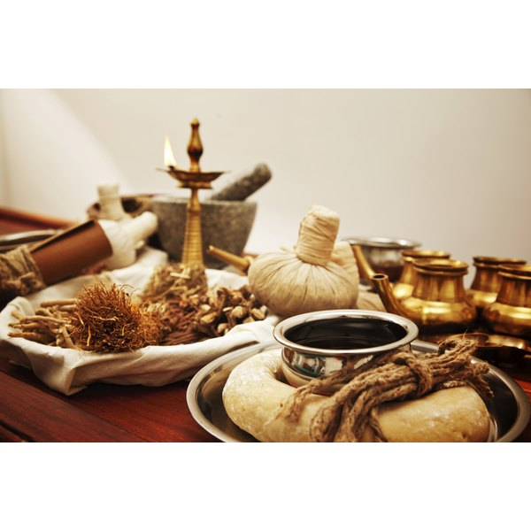 Ayurveda herbal medicine supplies.