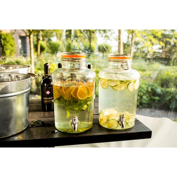 Lemon water outside for a party.