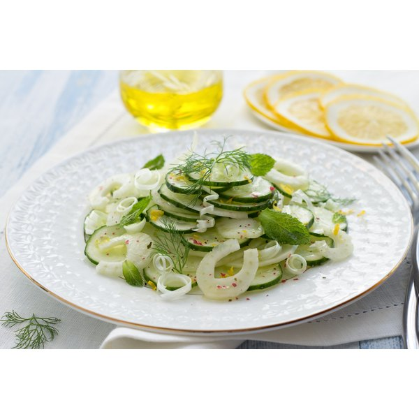 A cucumber and fennel salad with fresh herbs.