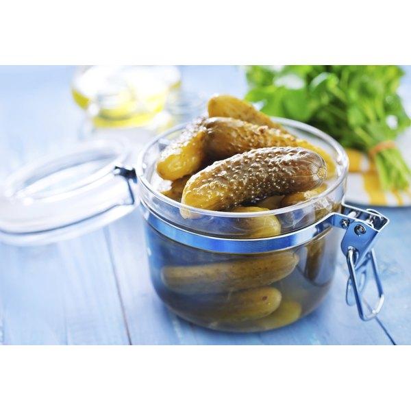 Fermented cucumbers in jar
