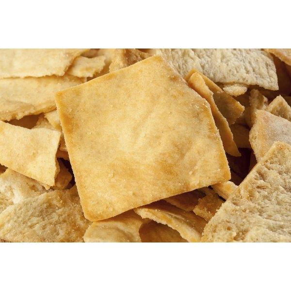 A close-up of pita chips.